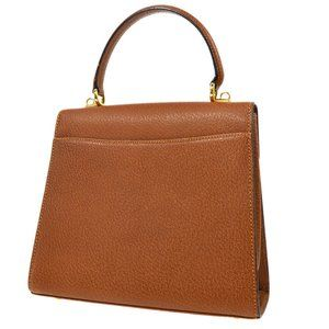 Authentic GUCCI Lady Lock Hand Bag Purse Brown Lea